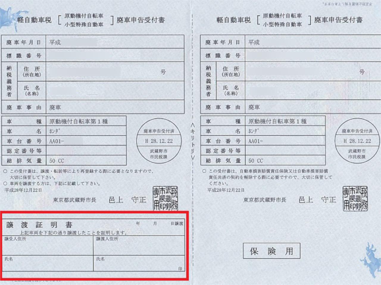 標識交付証明書譲渡欄