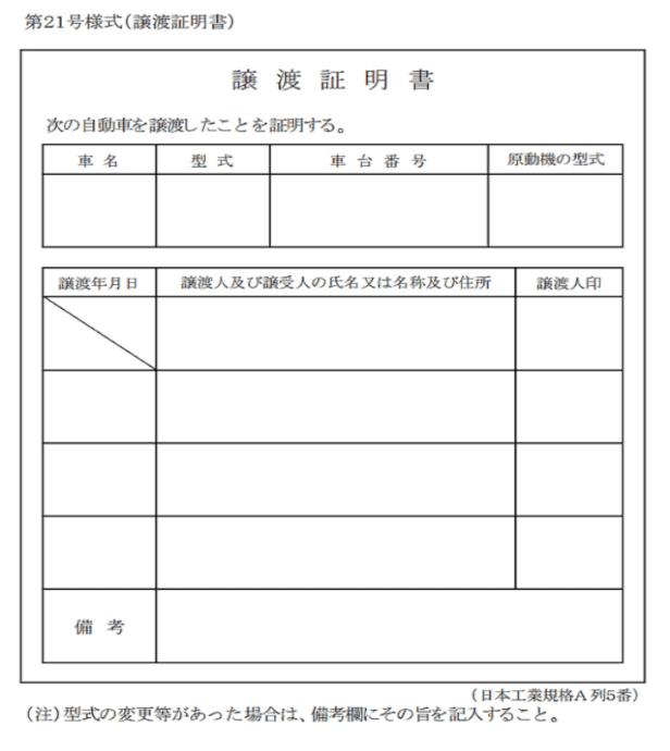 個人売買時の名義変更で必要な譲渡証の記入の注意点